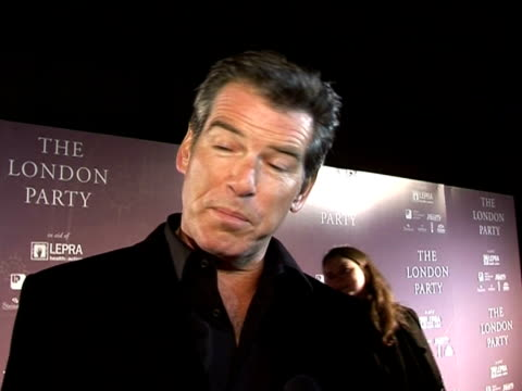 pierce brosnan speaks about what the baftas mean at the pre-bafta awards party: the london party on february 18, 2006. - ピアース・ブロスナン点の映像素材/bロール