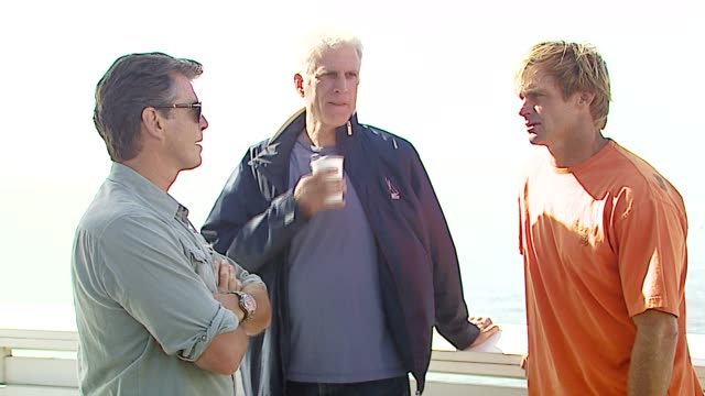 pierce brosnan ted danson and laird hamilton at the a day at the beach paddle out protest at malibu beach in malibu california on october 22 2006 - malibu beach stock videos & royalty-free footage
