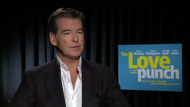 interview pierce brosnan the love punch los angeles junket pierce brosnan on working with the cast and crew the film's style and the film's... - self love stock videos & royalty-free footage