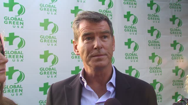 Pierce Brosnan with Keely Shaye Smith on coming out tonight on the work they're doing to save the whales on the oil spill at the Global Green USA...