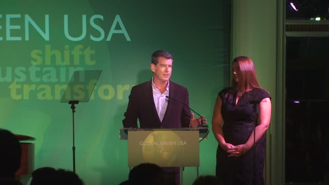 Pierce Brosnan with Keely Shaye Smith on the oil spill and whales at the Global Green USA 14th Annual Millennium Awards at Santa Monica CA
