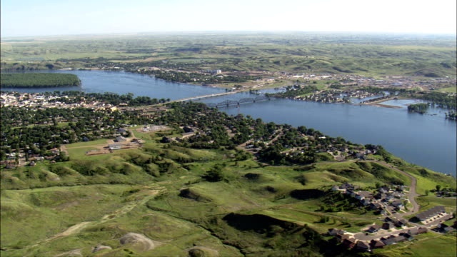 pierre - aerial view - south dakota, stanley county, united states - south dakota stock videos & royalty-free footage