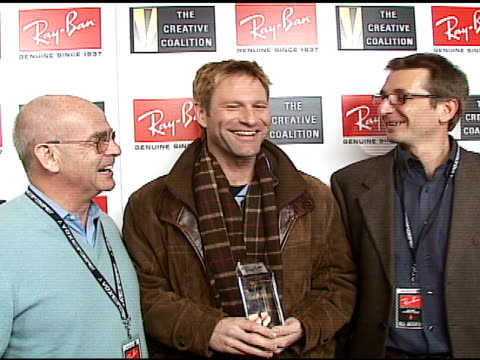 Pierre Fay Aaron Eckhart and Vittorio Verdun at the 2007 RayBan Visionary Award In Association With The Creative Coalition at Harry O's in Park City...