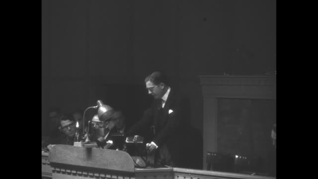 ms pierre laval french delegate to the league of nations gives french position on recent invasion of ethiopia by italy / mls anthony eden british... - black and white stock videos & royalty-free footage