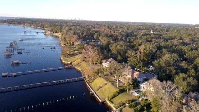 piers of st. johns river at miller oaks - jacksonville florida video stock e b–roll