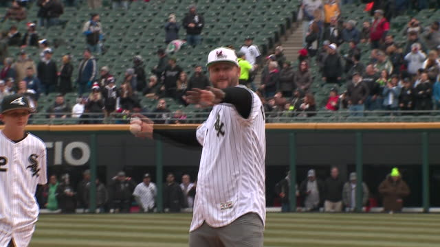 J Pierzynsk Throws Out First Pitch at White Sox Home Opener at Guaranteed Rate Field on April 5 2018