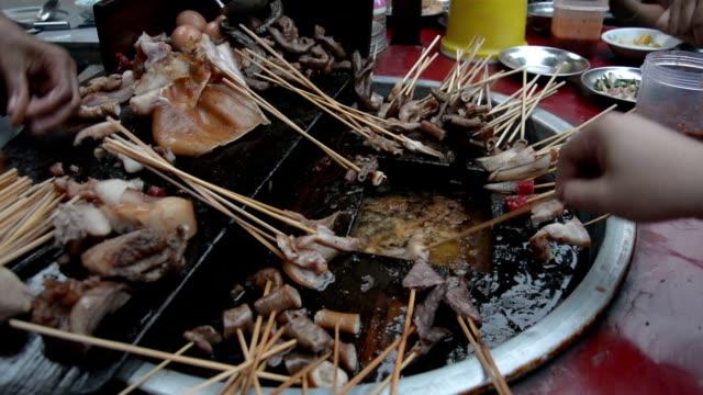 Pig tail- Myanmar street food in Yangon, Burma