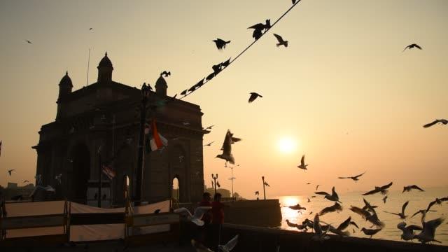 Pigeons at Gateway of India, in morning, Colaba, Mumbai, India.