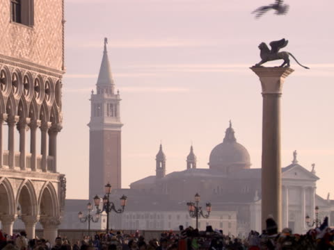pigeons fly around the piazza san marco in venice, italy. - italien stock-videos und b-roll-filmmaterial
