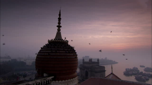 pigeons roost on a small dome and spire of a hotel roof mumbai available in hd. - spire stock videos & royalty-free footage