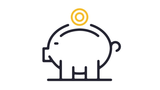piggy bank account line icon animation with alpha - piggy bank stock videos & royalty-free footage