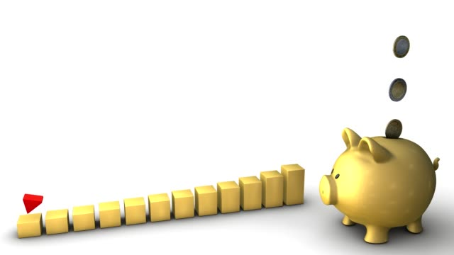 piggy bank golden rising graph - arrow symbol stock videos & royalty-free footage