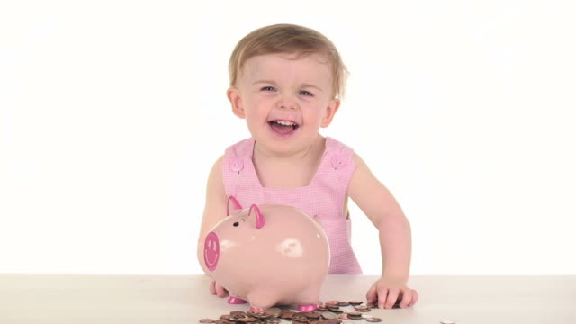 piggy bank savings - only baby girls stock videos & royalty-free footage