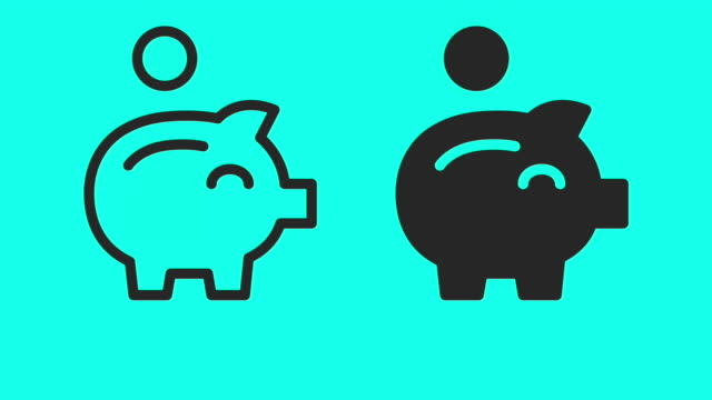 piggy bank - vector animate - piggy bank stock videos & royalty-free footage