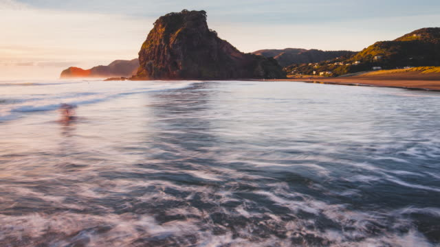 Piha Beach, Sunset Time lapse, Auckland, New Zealand.