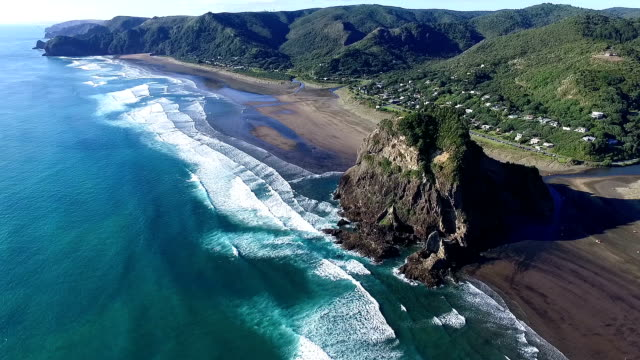 piha beach - new zealand stock videos & royalty-free footage