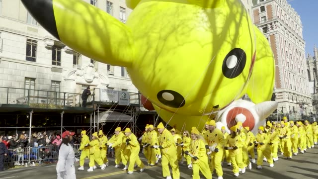 pikachu balloon. 93rd macy's thanksgiving day parade in new york city via the upper west side of manhattan on thursday november 28, 2019. - pokémon stock videos & royalty-free footage