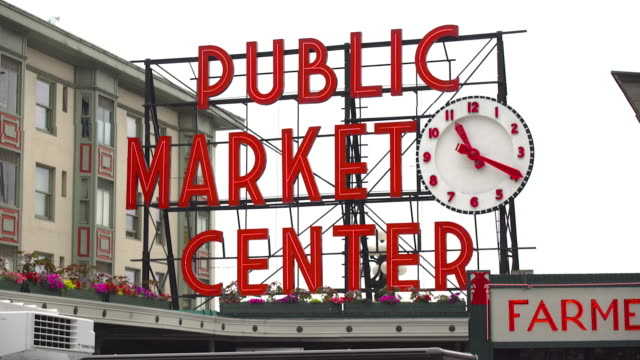 pike place public market sign - pike place market stock videos and b-roll footage