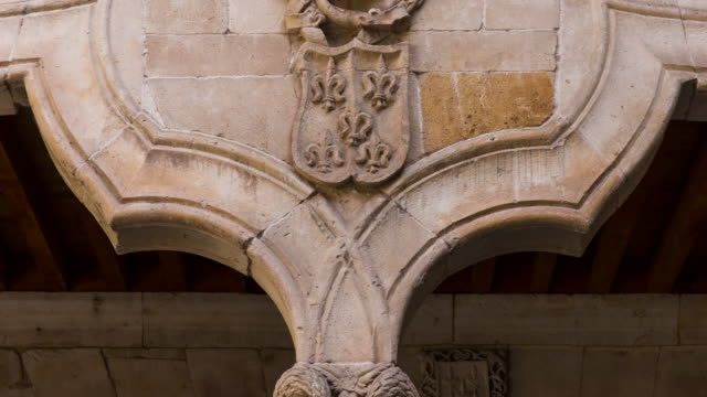 """Pilaster in the patio of """"Casa de las Conchas"""", Salamanca city, Salamanca province, Castilla y Leon, Spain, Europe"""