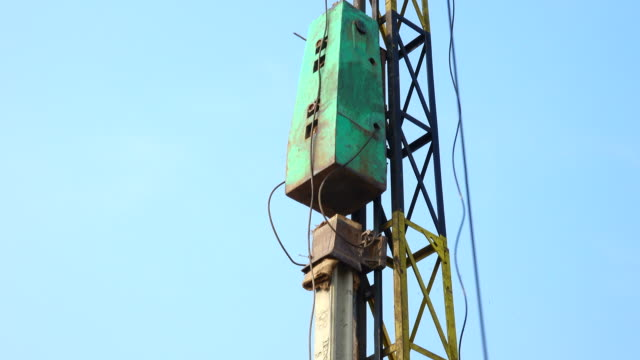Pile driver working in construction site