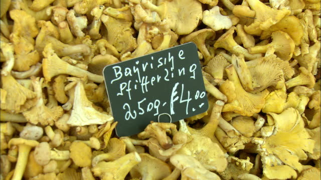 CU Pile of chanterelle mushrooms with hand written price tag on market stall at Viktualienmarkt, Munich, Bavaria, Germany