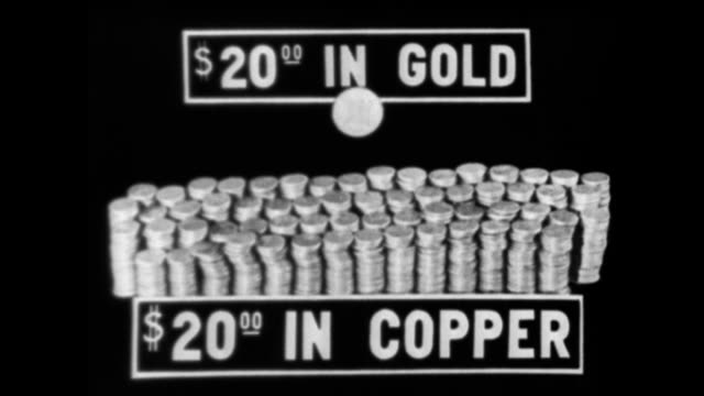 pile of coins with the sign '$2000 in copper' in front of them / single gold coin appears with the words '$2000 in gold' / man places sticks of gold... - money press stock videos & royalty-free footage