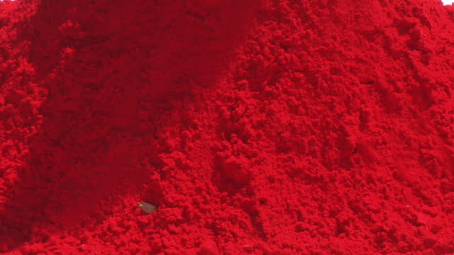 CU, Pile of red powder for Holi Festival of Colors, Jaipur,Rajasthan, India