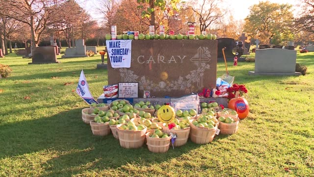wgn piles of green apples bud light on harry caray grave after cubs' world series win on nov 3 2016 - baseball world series stock-videos und b-roll-filmmaterial