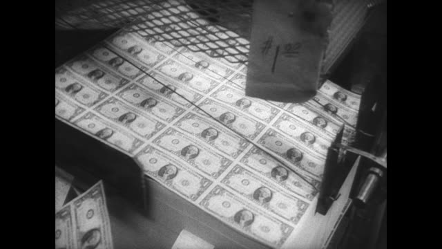 piles of old currency notes bundled up for destruction / woman walks through the room stacked high with piles of notes / woman fans a wad of money to... - 1966 stock-videos und b-roll-filmmaterial