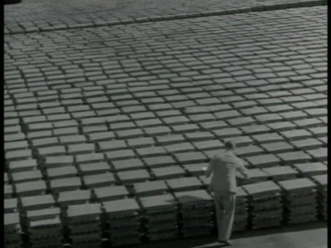 vidéos et rushes de piles of tin lined up british man inspecting. british man making notes rows & rows of tin piles. vs large & deep tin pit mines. tin ores in mining... - 1942