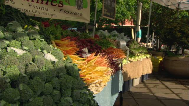 vídeos y material grabado en eventos de stock de ms piles of vegetables on table at outdoor farmer's market / lake oswego, oregon, usa - escritura occidental