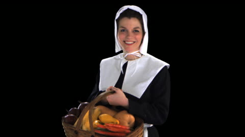 pilgrim woman with basket - this clip has an embedded alpha-channel - pilgrim stock videos & royalty-free footage