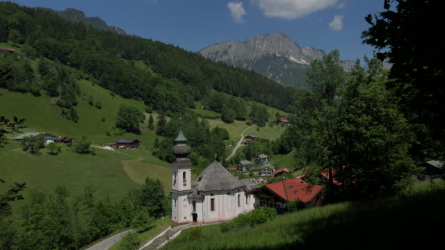 pilgrimage church maria gern against untersberg mountain (1973m), berchtesgaden, upper bavaria, bavaria, germany - 1973 stock videos & royalty-free footage