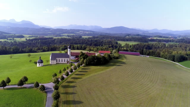 pilgrimage church of wilparting near irschenberg in the bavarian prealps - high point video stock e b–roll