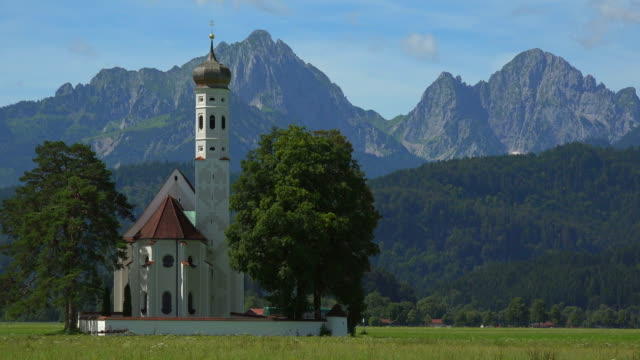 stockvideo's en b-roll-footage met pilgrimage church st. coloman near schwangau, swabia, bavaria, germany - bavarian alps