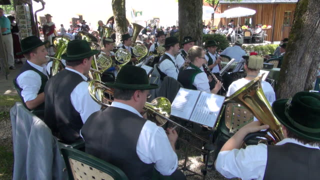 ms pan pilgrimage of societies for traditional costumes at abbey maria eck near siegsdorf, chiemgauer alps / siegsdorf, bavaria, germany - trombone stock videos & royalty-free footage