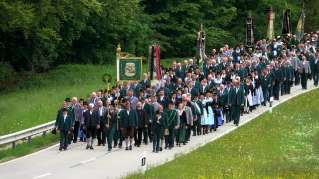 Pilgrimage of the societies of traditional costumes in Maria Eck near Siegsdorf, Chiemgau, Bavaria, Germany