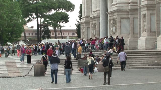 pilgrims from around the world react in rome a day before john paul ii and john xxiii are to be named saints in the first ever double papal... - pope john xxiii stock videos & royalty-free footage