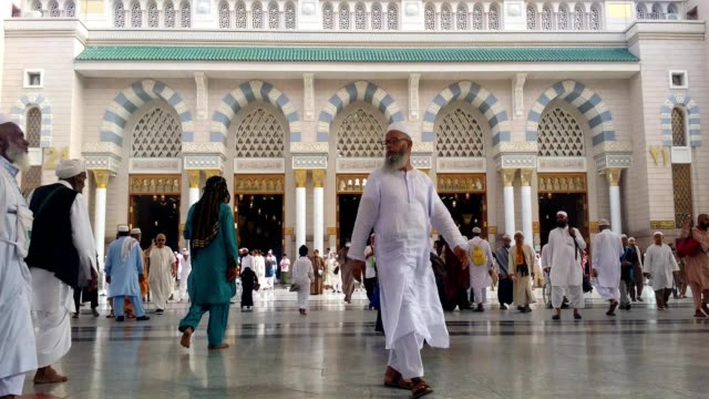 pilgrims in prophet's mosque for prayer. - islam stock videos & royalty-free footage