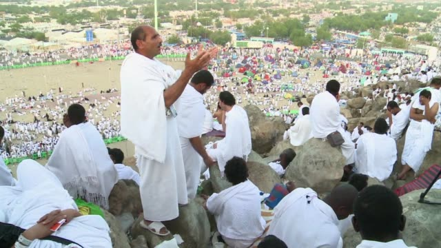 pilgrims in their hundreds of thousands thronged mount arafat in saudi arabia from early monday for the climax of the annual hajj pilgrimage muslim... - hajj stock videos & royalty-free footage