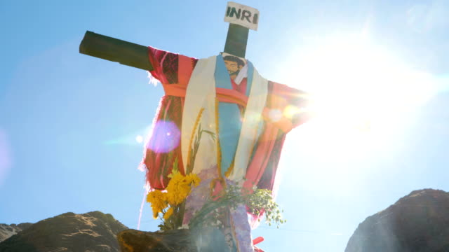 pilgrims visit a cross on the route to the annual qoyllur rit'i festival on may 27 2018 in ocongate peru every year since 1783 in the sinakara valley... - religious music stock videos and b-roll footage