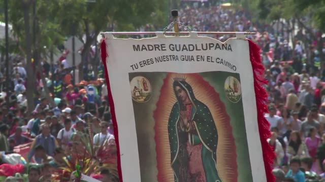 stockvideo's en b-roll-footage met pilgrims worshipping our lady of guadalupe express hope that pope francis who will visit mexico from february 12 to february 17 will be able to fix... - bedevaart