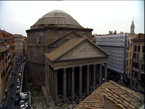 pillared portico and dome of pantheon surrounded by modern buildings rome - architrav stock-videos und b-roll-filmmaterial