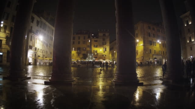 pillars and square in front of the pantheon - pantheon rome stock videos and b-roll footage
