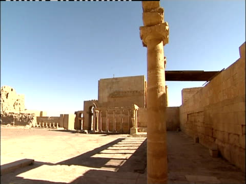pillars remain among the ruins of the great temple in hatra, iraq. - column stock videos & royalty-free footage