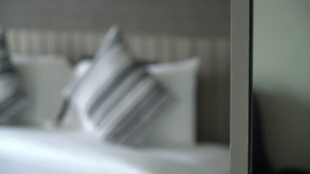 pillow on bed decoration in bedroom - bedclothes stock videos and b-roll footage