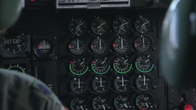 zo pilot and crew of a c-130h hercules of the 109th airlift squadron sitting in the cockpit / greenland - us air force stock videos & royalty-free footage
