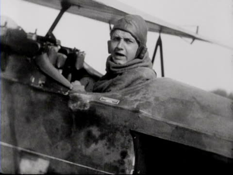 pilot in fokker plane preparing and taking off in field / cambrai france - aerospace stock videos & royalty-free footage