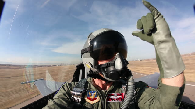 WS F-16 pilot inside cockpit during takeoff, Aurora, Colorado, USA