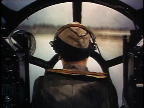 pilot inside cockpit flying bomber / guam - guam stock videos & royalty-free footage